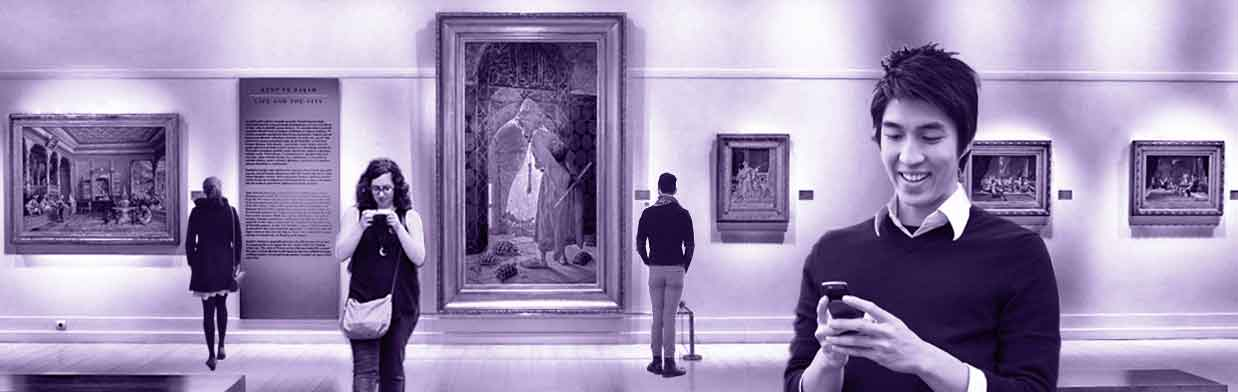 museum guests enjoying their time in an art gallery