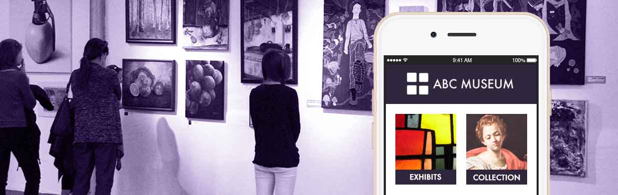 museum's mobile website accessible by smartphone as visitors enjoy paintings
