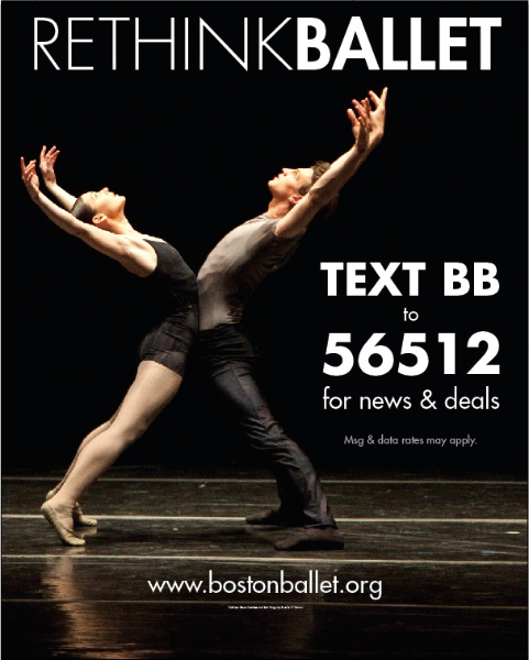 Text-in for news and deals to the Boston Ballet.